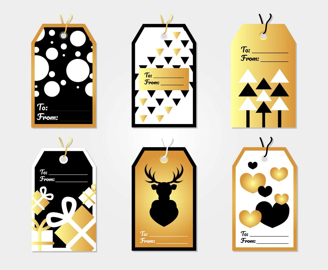 Holiday Gift Tags Template Vector 2