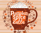 Pumpkin spice latte Illustration with pumpkins, nutmeg, ginger, cloves, star anise ornament