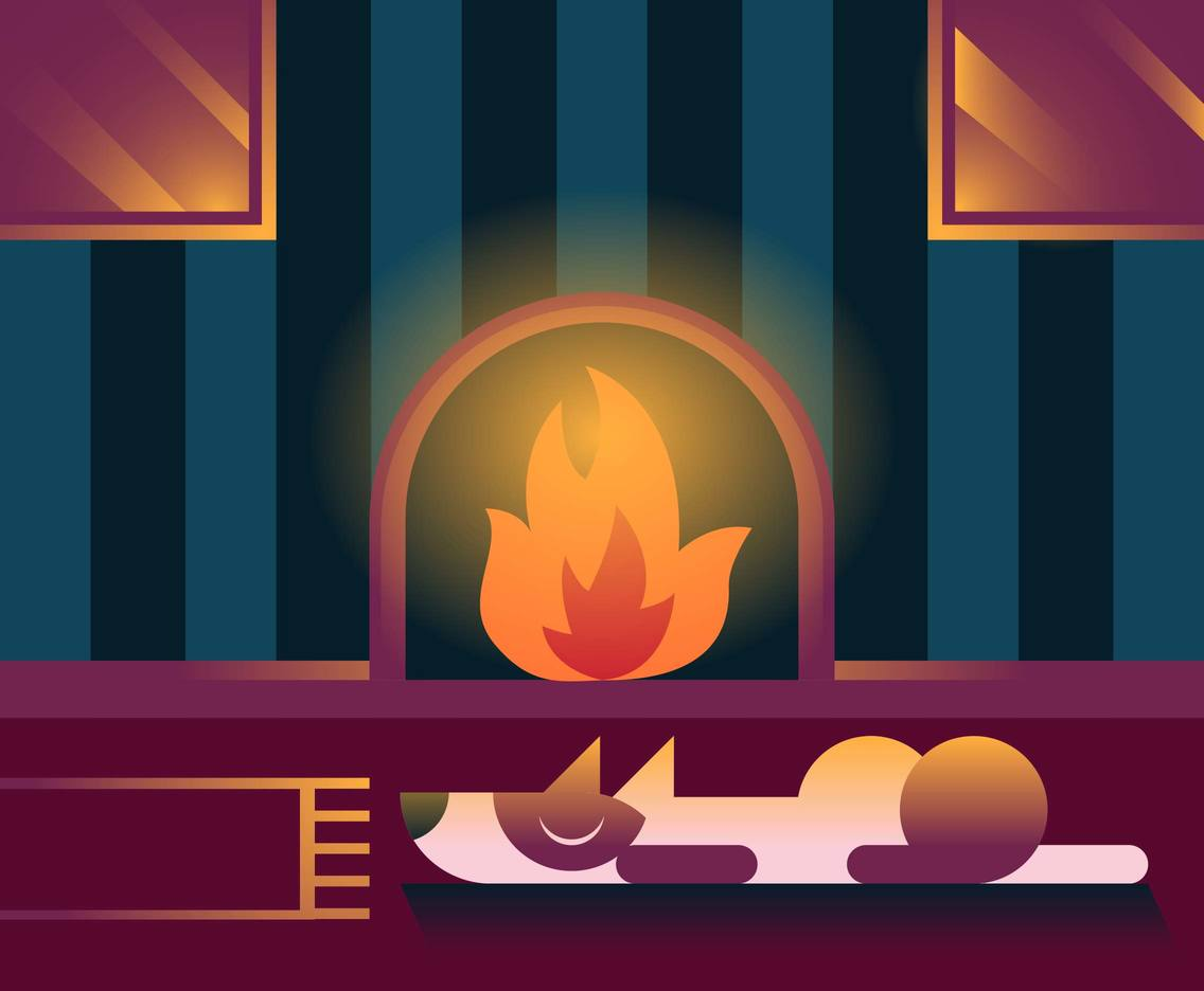 Fireside Pets Dog Illustrator Vector