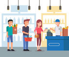 Shopping Queue  Vector