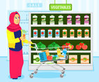 Shopping for Grocery  Vector