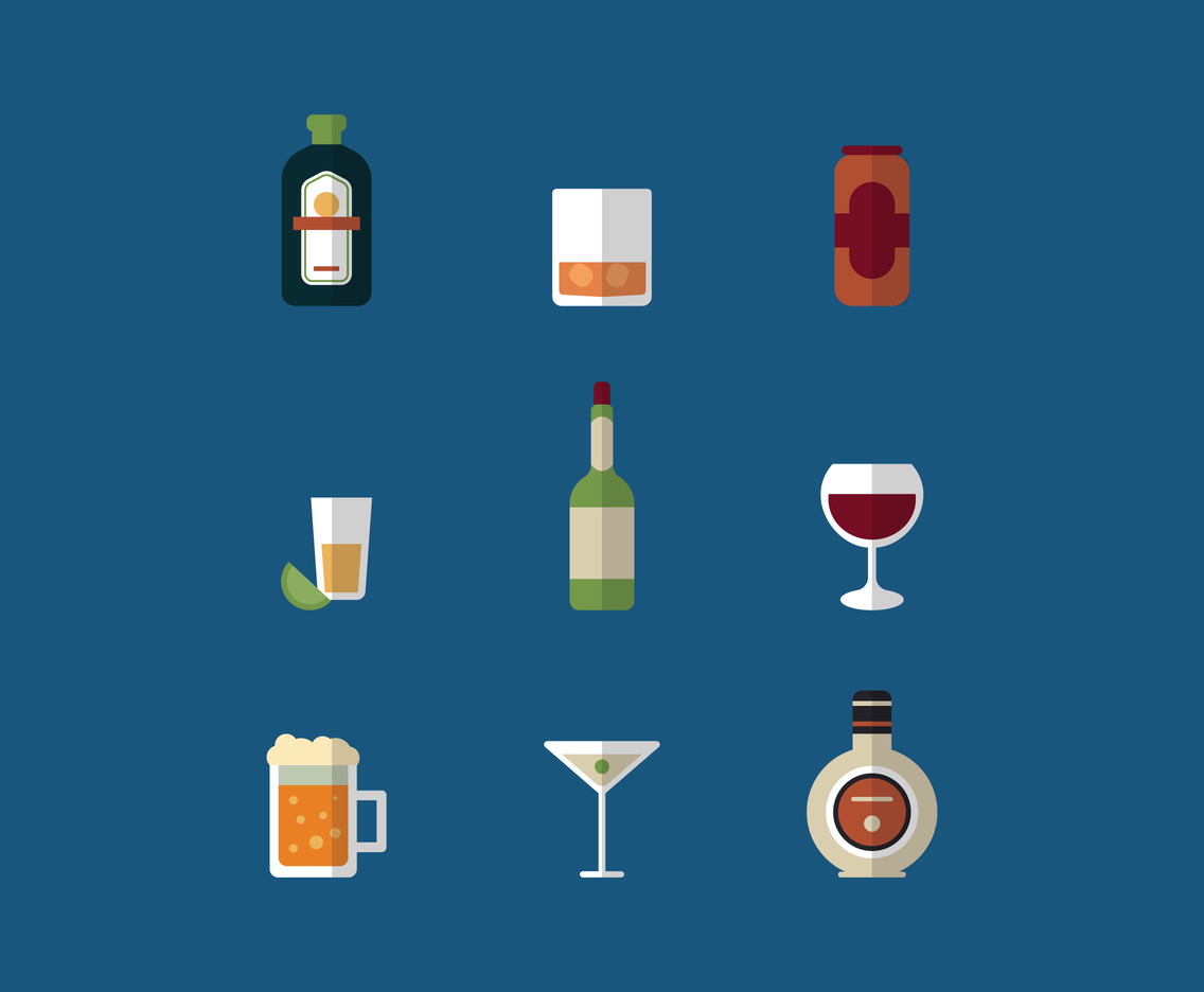 Flat Design Alcohol Drinks