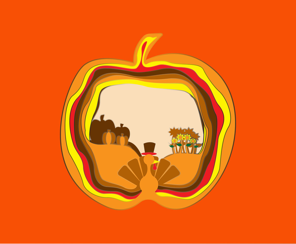 Pumpkin Thanksgiving Papercraft Vector