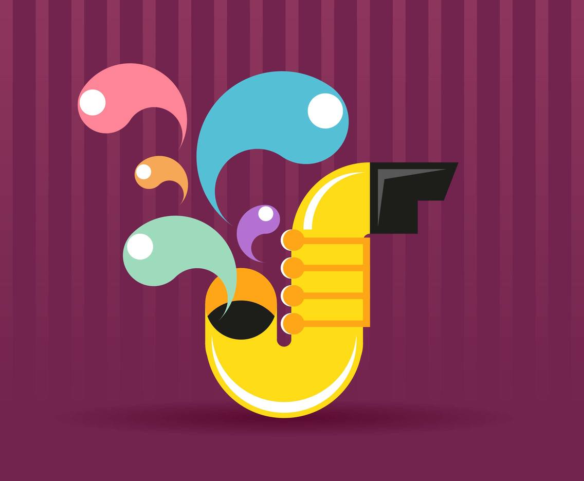 Saxophone Flat Illustration Vector