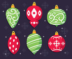 Red And Green Christmas Ornament Vector