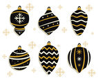 Black And Gold Christmas Ornament Vector