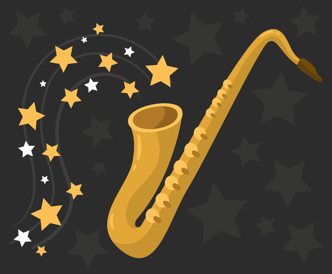 Saxaphone With Stars Vector