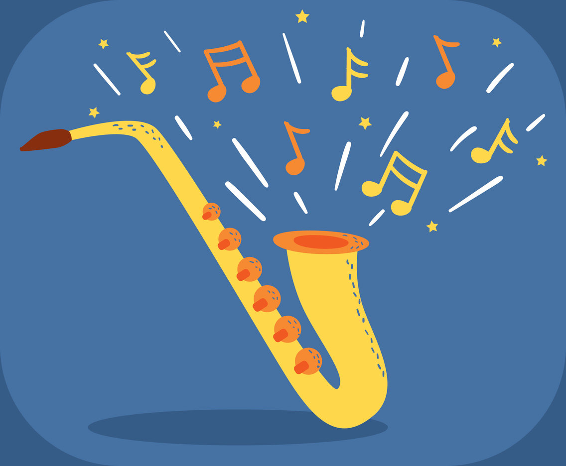 Saxaphone On Blue Vector