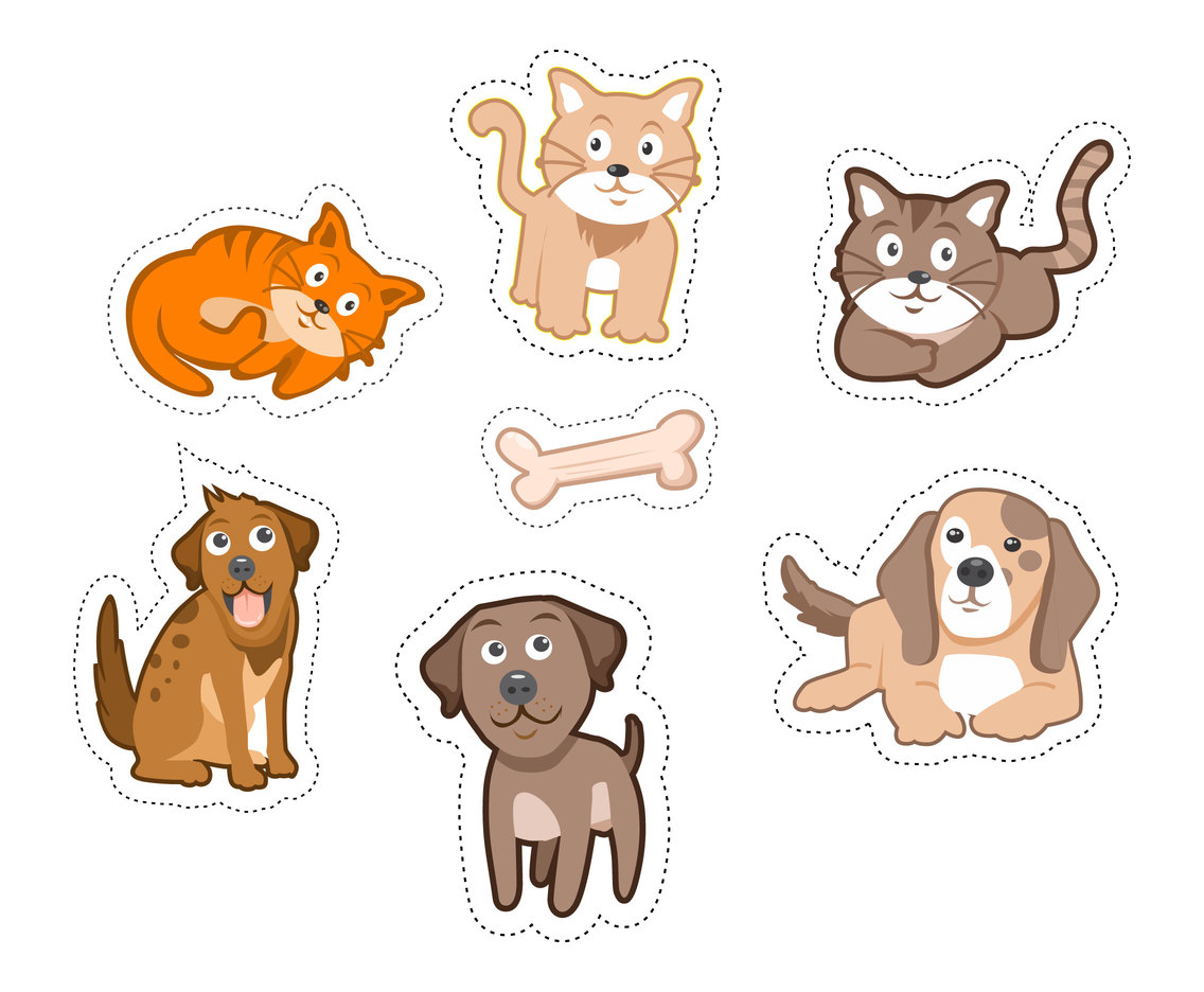 Isolated Kitten and Puppy Stickers Vector