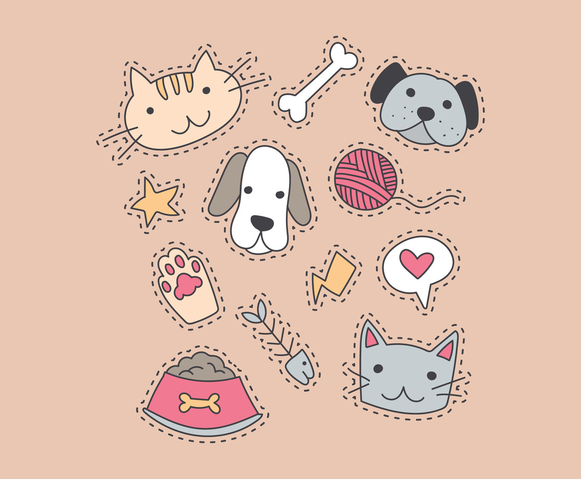Cute Stickers Of Cats and Dogs