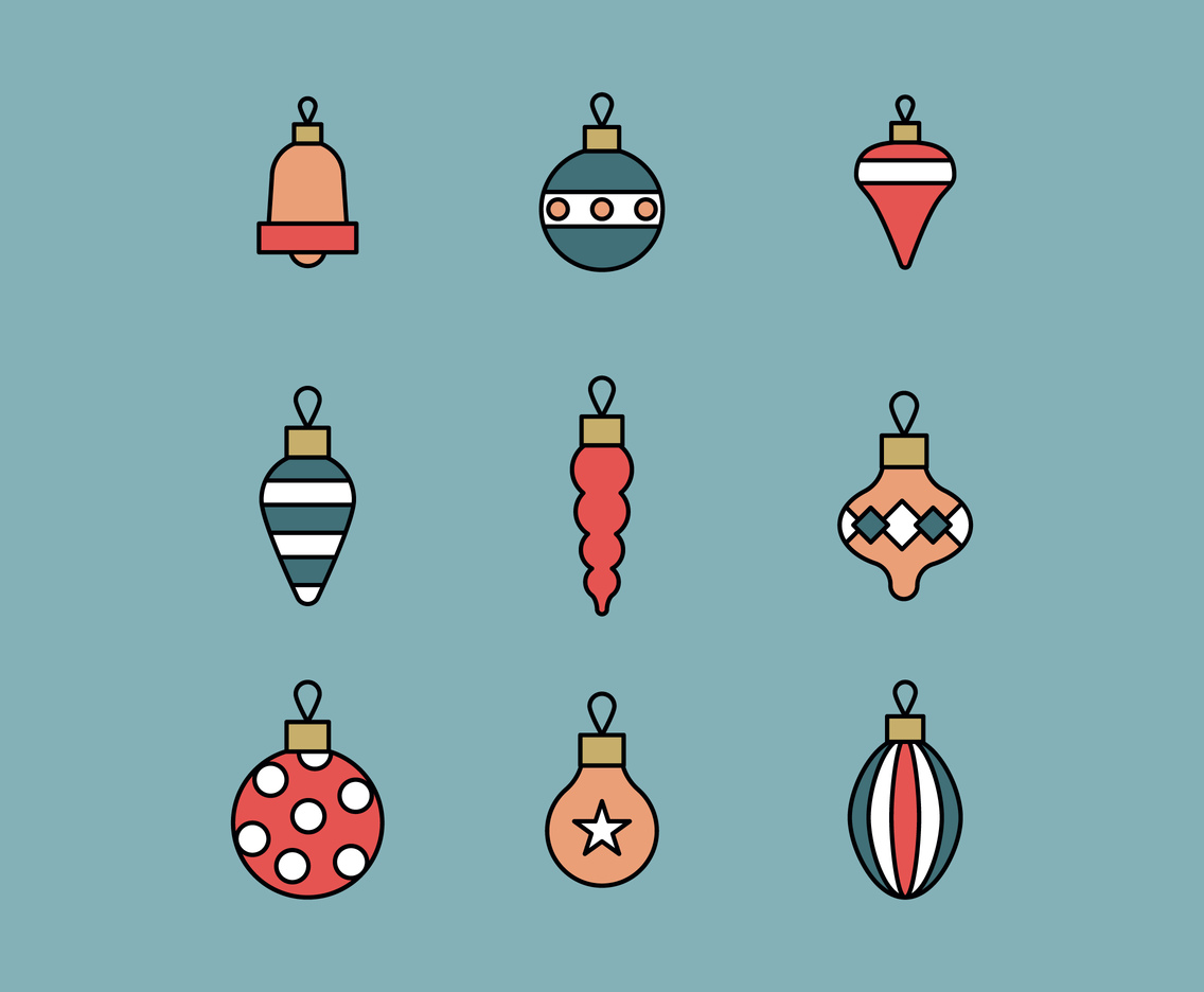 Outlined Set Of Christmas Ornaments