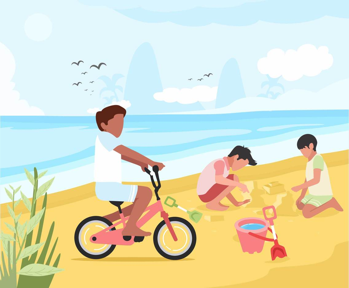 Kids Playing at the Beach Vector