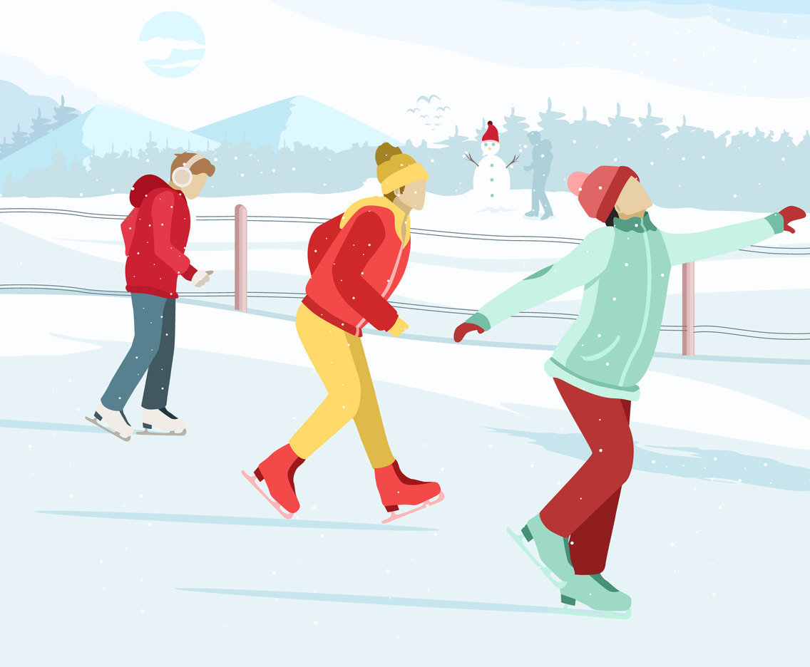 Fun Ice Skating Vector