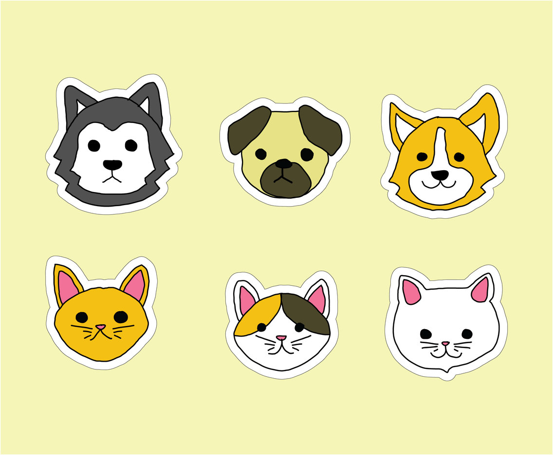 Hand Drawn Dogs And Cats Vector Vector Art Graphics Freevectorcom