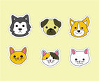 Hand Drawn Dogs and Cats Vector