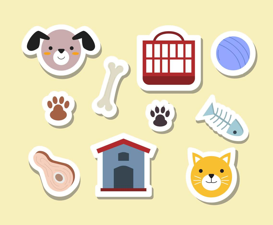Cute Pet Stickers Vector