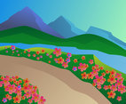 Beautiful Spring Landscape Vectors