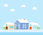 Snowy Winter Village Vectors