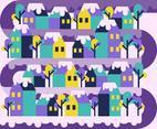 Winter Village Colorful Flat Illustration Vector