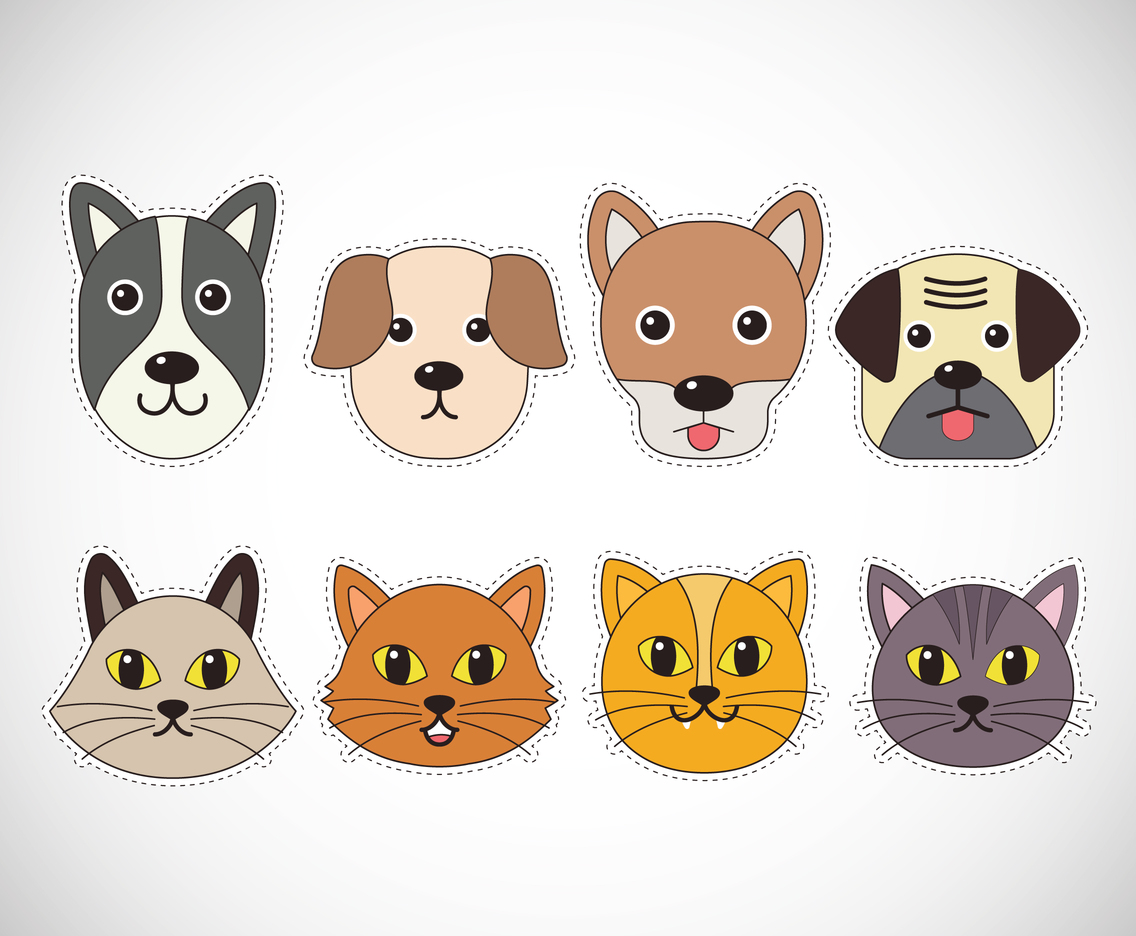 Cat and dog stickers