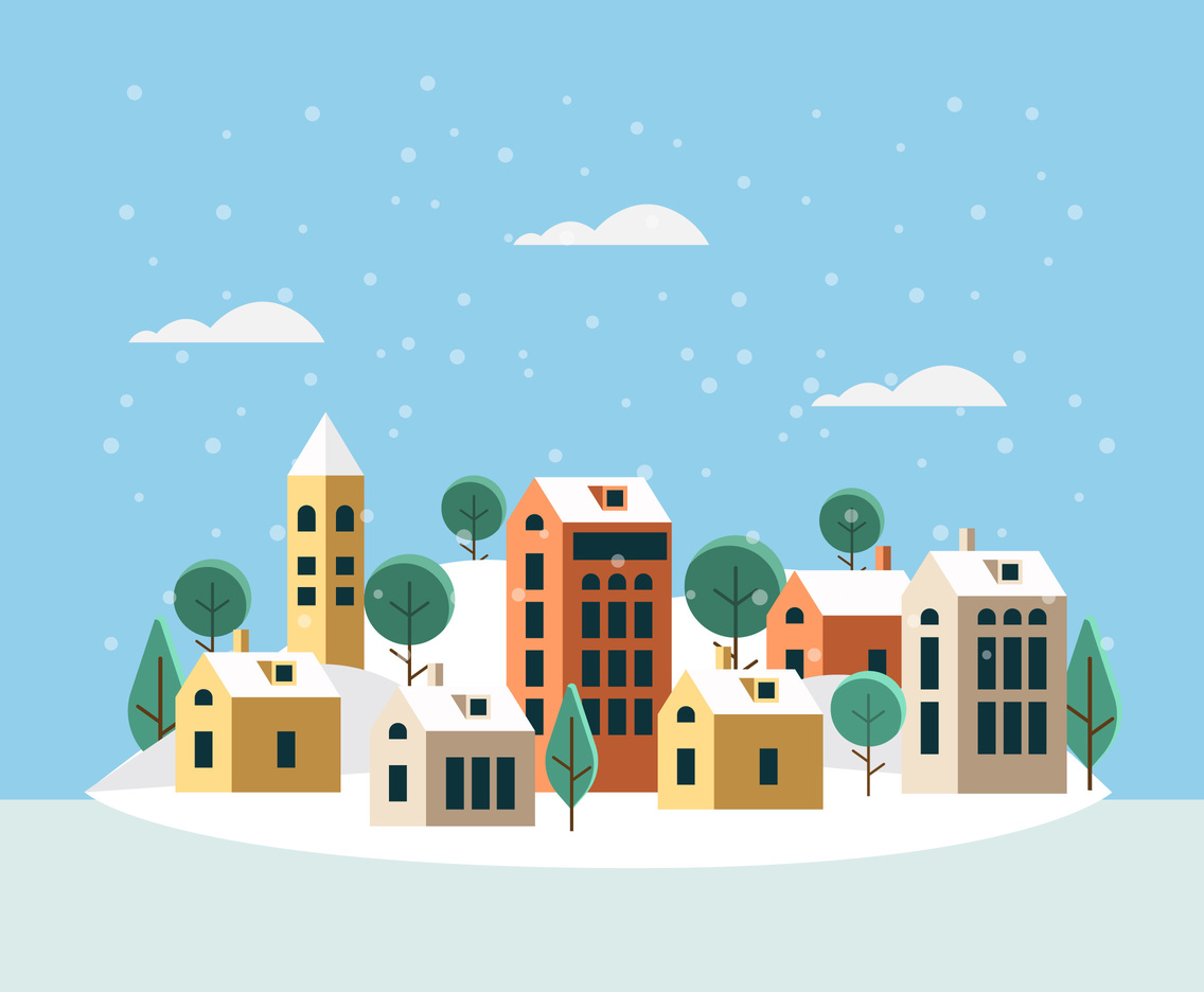 Small Winter Village Vector