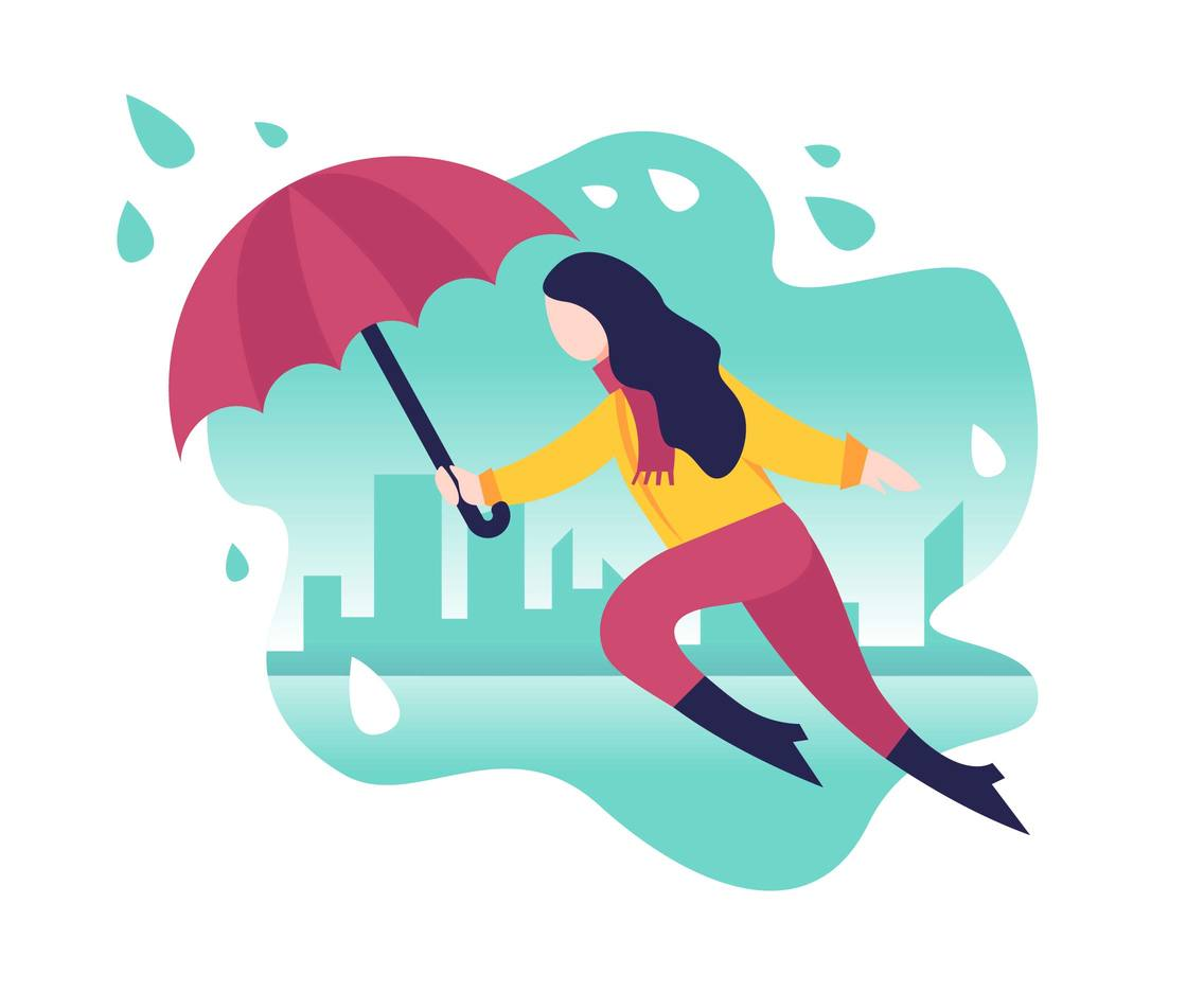 Girl Holding Umbrella Flat Illustration Vector