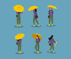 Girl holding Umbrella Illustration Vector