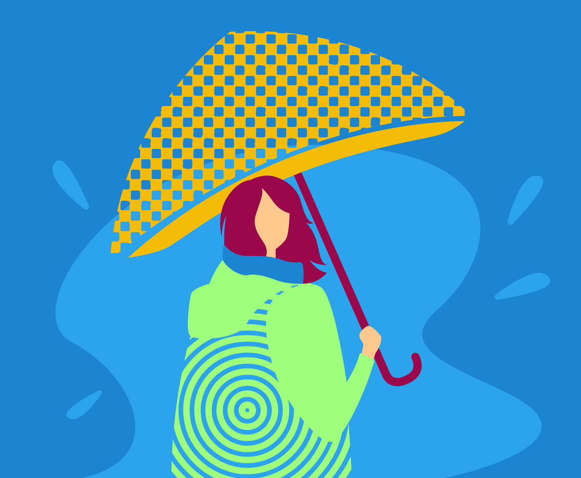 Cute Girl Holding Umbrella Vectors