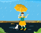 Little Girl in the Rain Vector