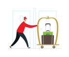 Bellhop Pushing Luggage Cart