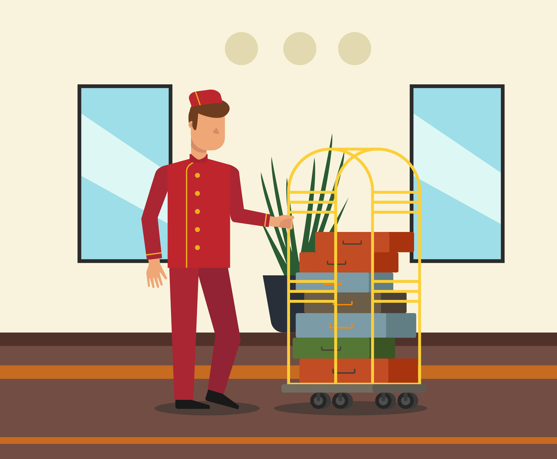 The Busy Bellhop Vector