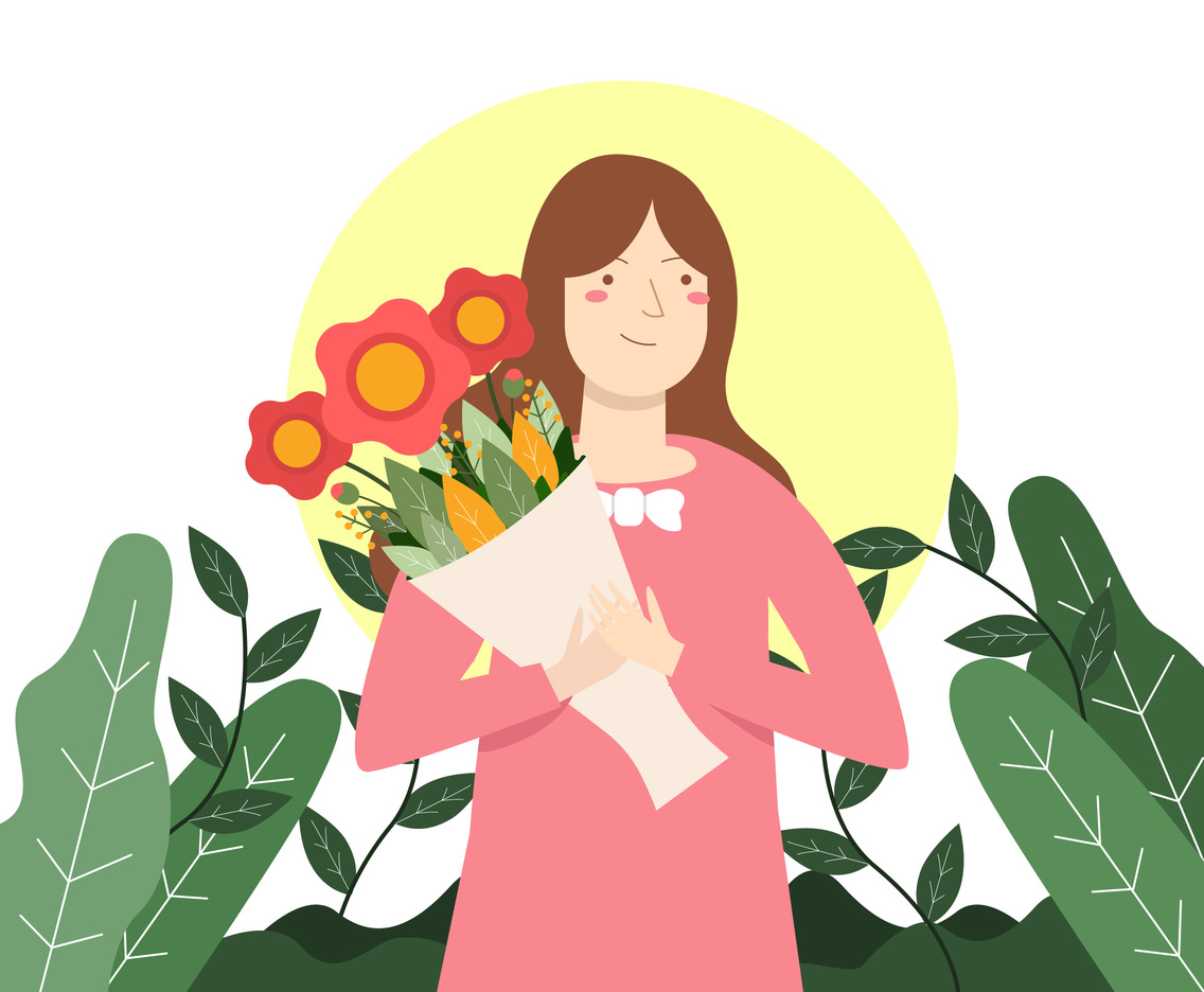 Cute Girl with Flower Vector