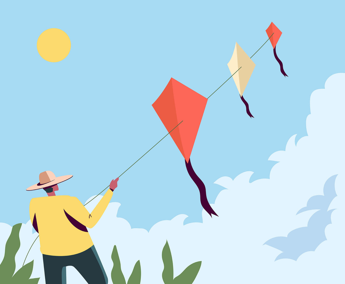 People Flying a Kite