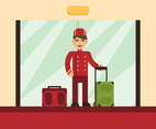 Bellhop Hotel Flat Illustration Vector