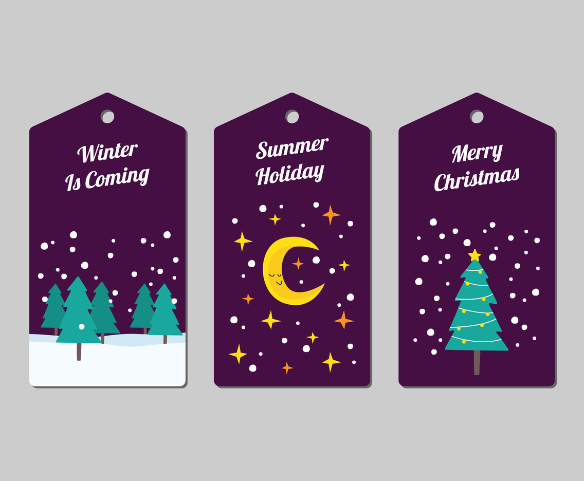 Winter Holiday Tags