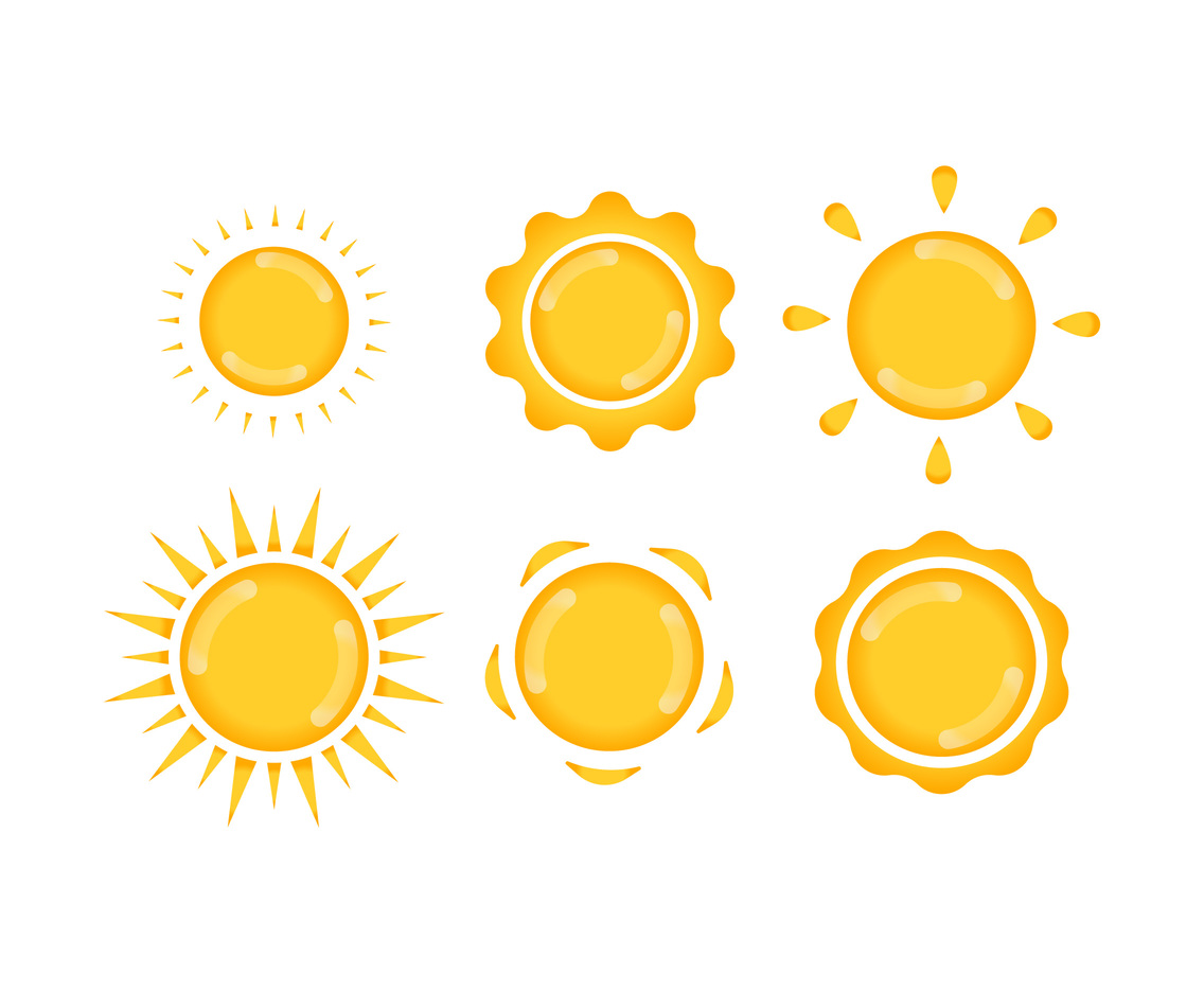 Glossy Sun Elements Vector