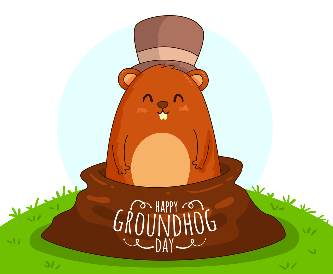 Ground Hog Day With Hat Vector