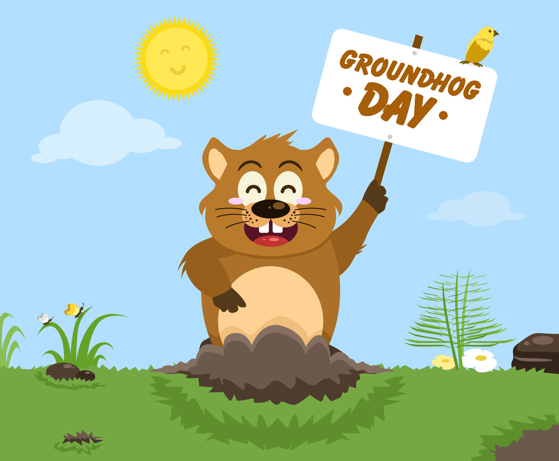 Sunny GroundHog Day Vector