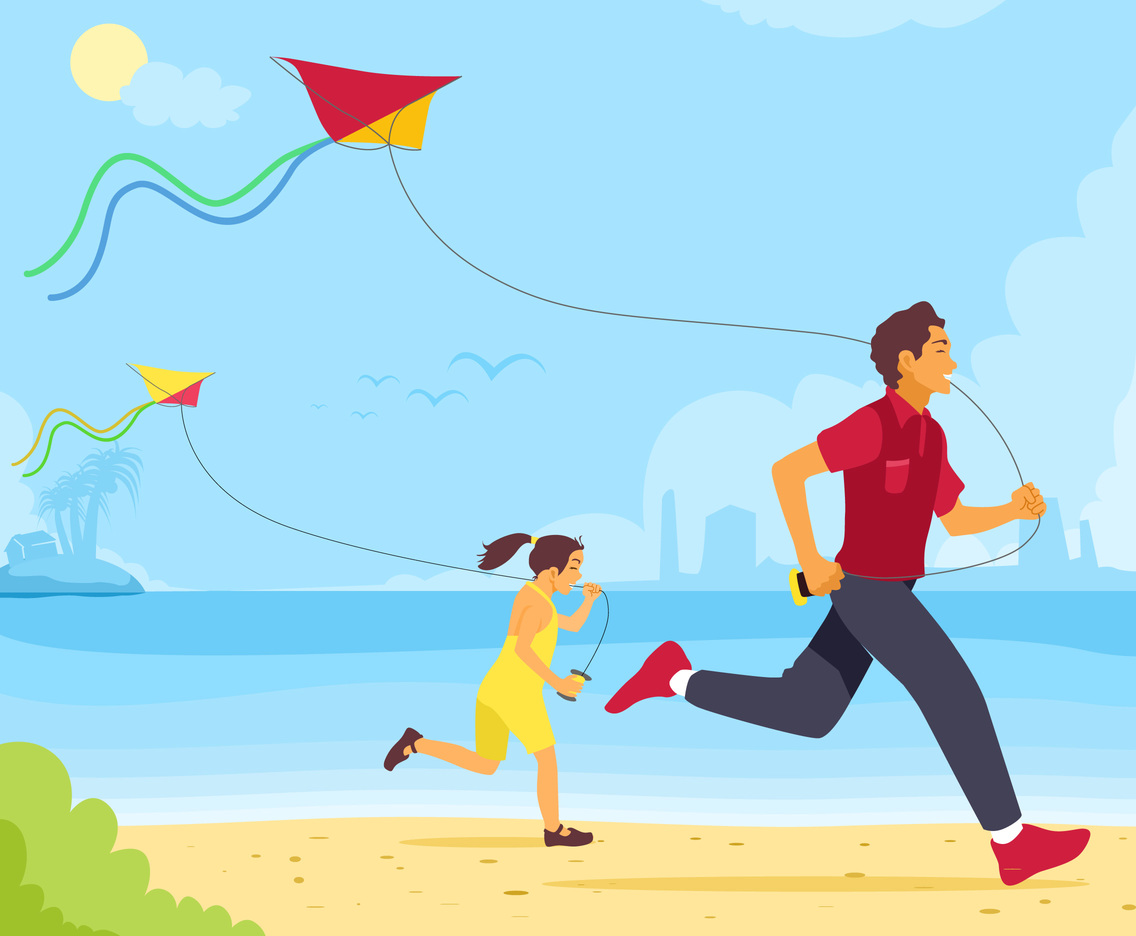 Flying Kite at the Beach Vector
