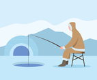 Eskimo Fishing On Ice