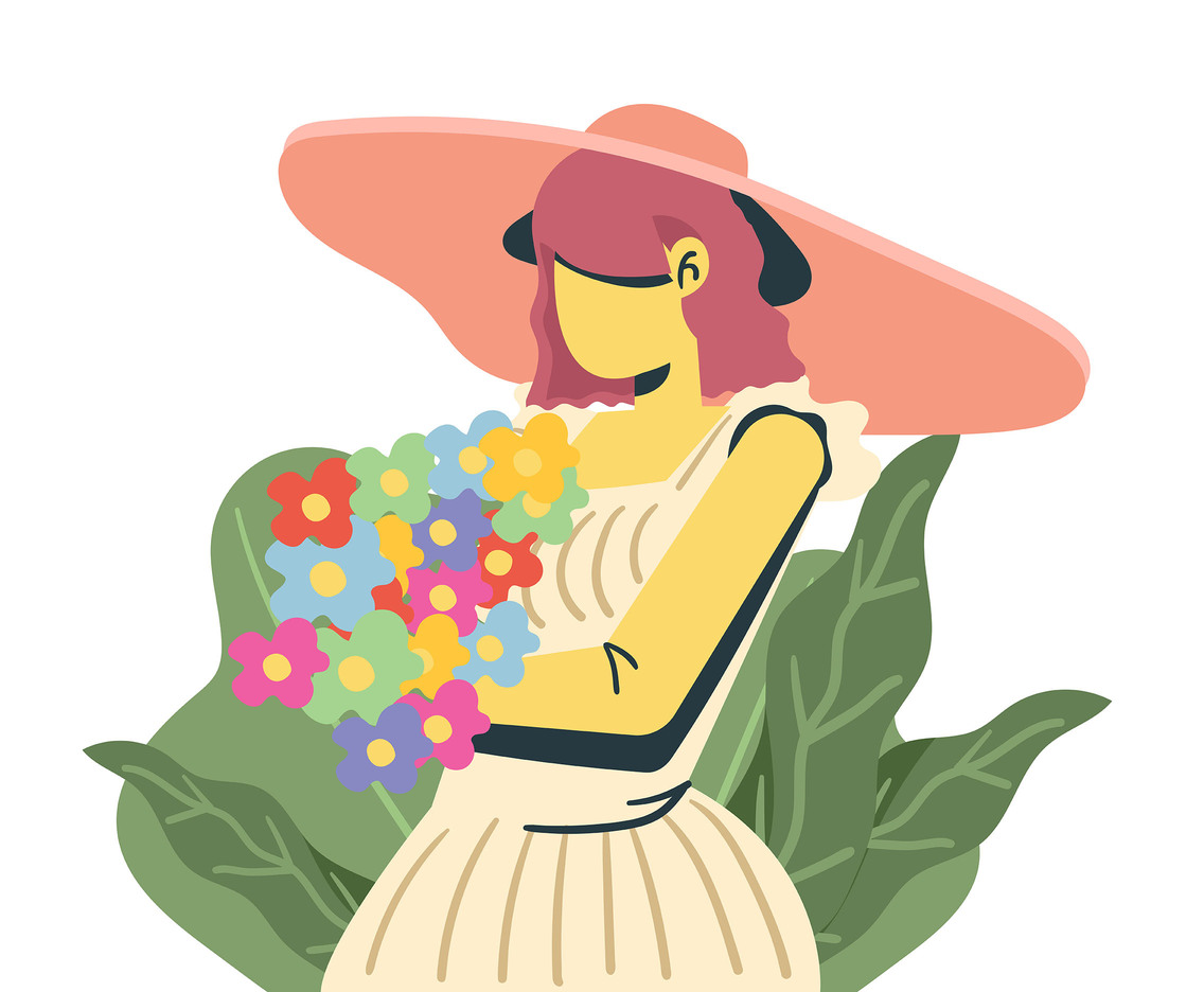 Girl with Flowers in Sun Hat