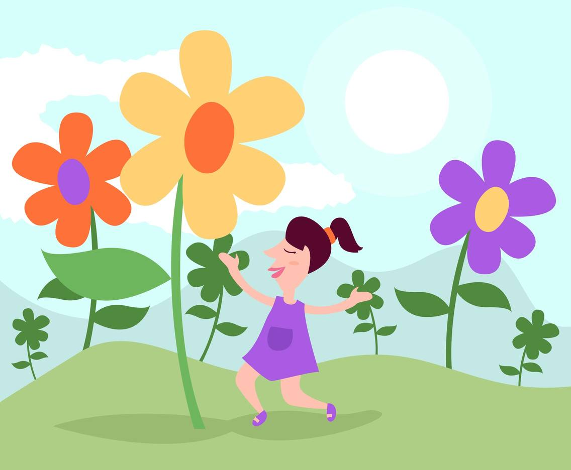 Girl With Flowers Illustration Vector #2
