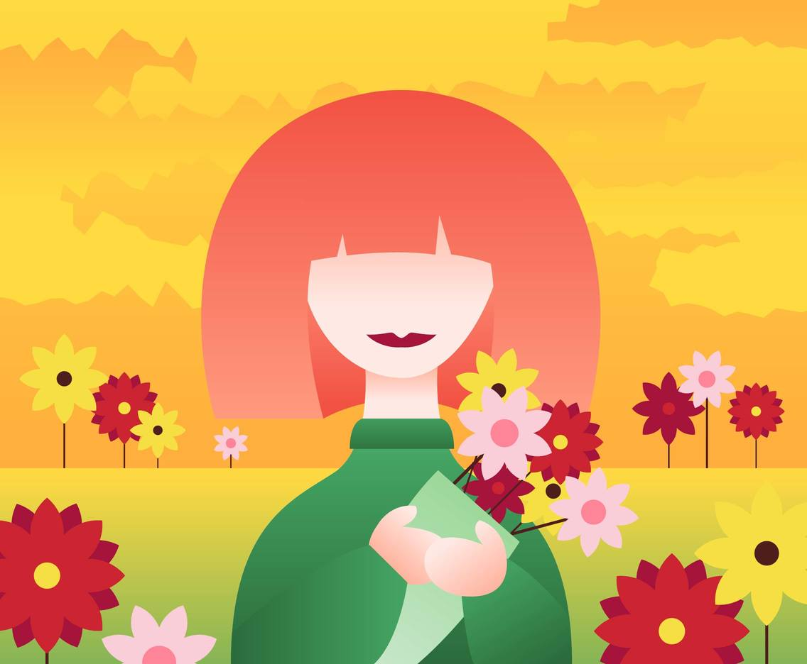 Girl With Flowers Illustration Vector