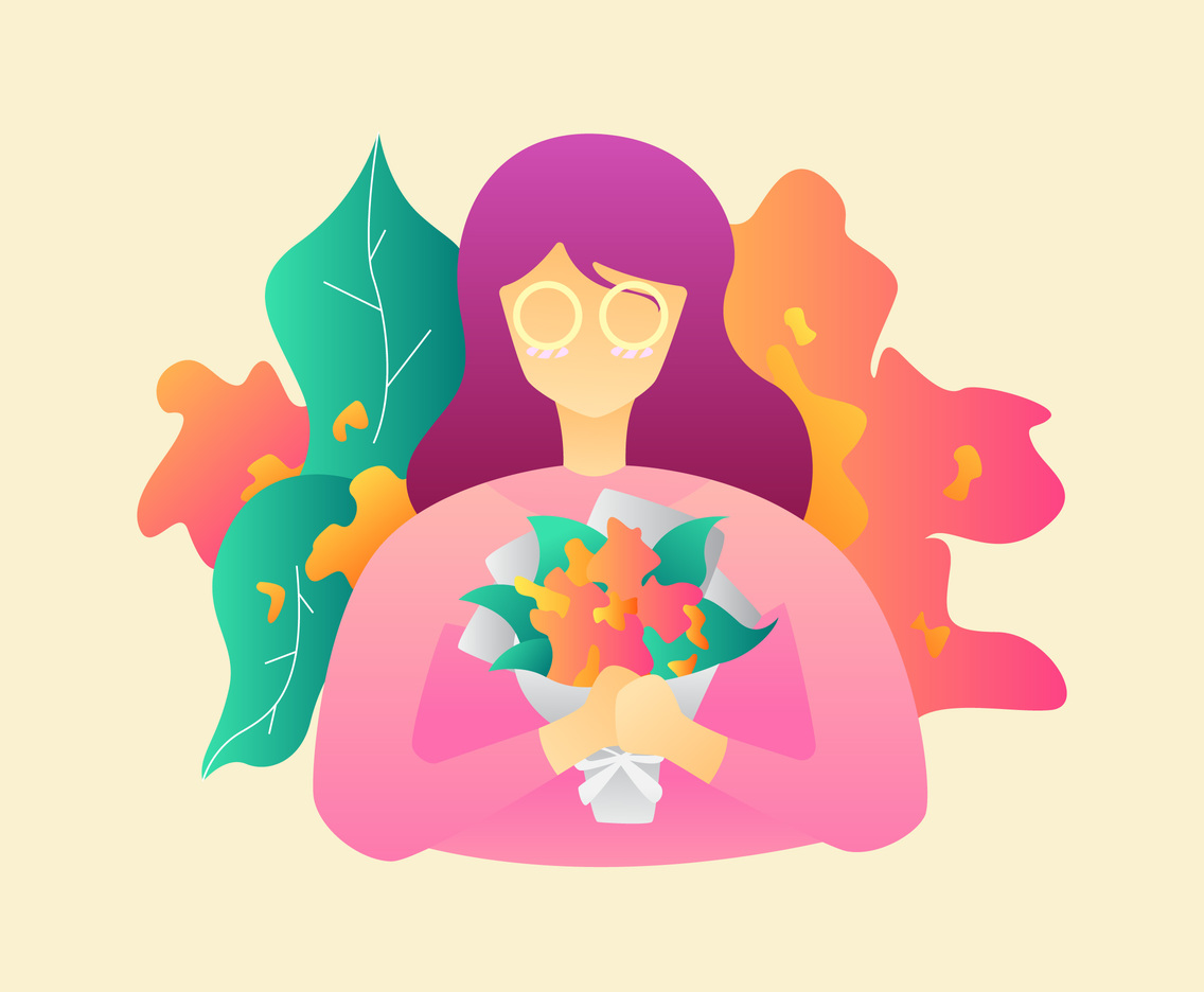 Cute Girl With Flowers Vectors