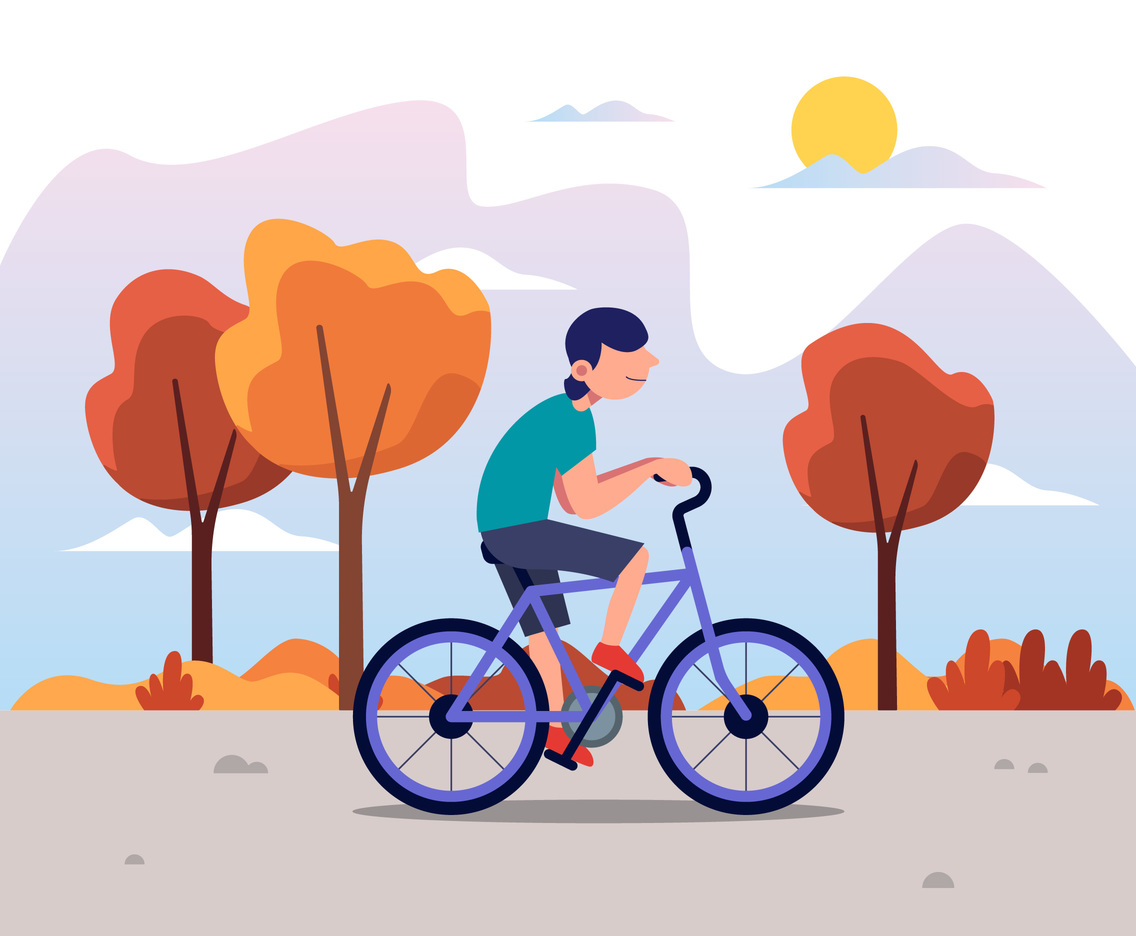 Bicycling in the Park Vector