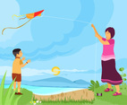Learn to Fly a Kite Vector