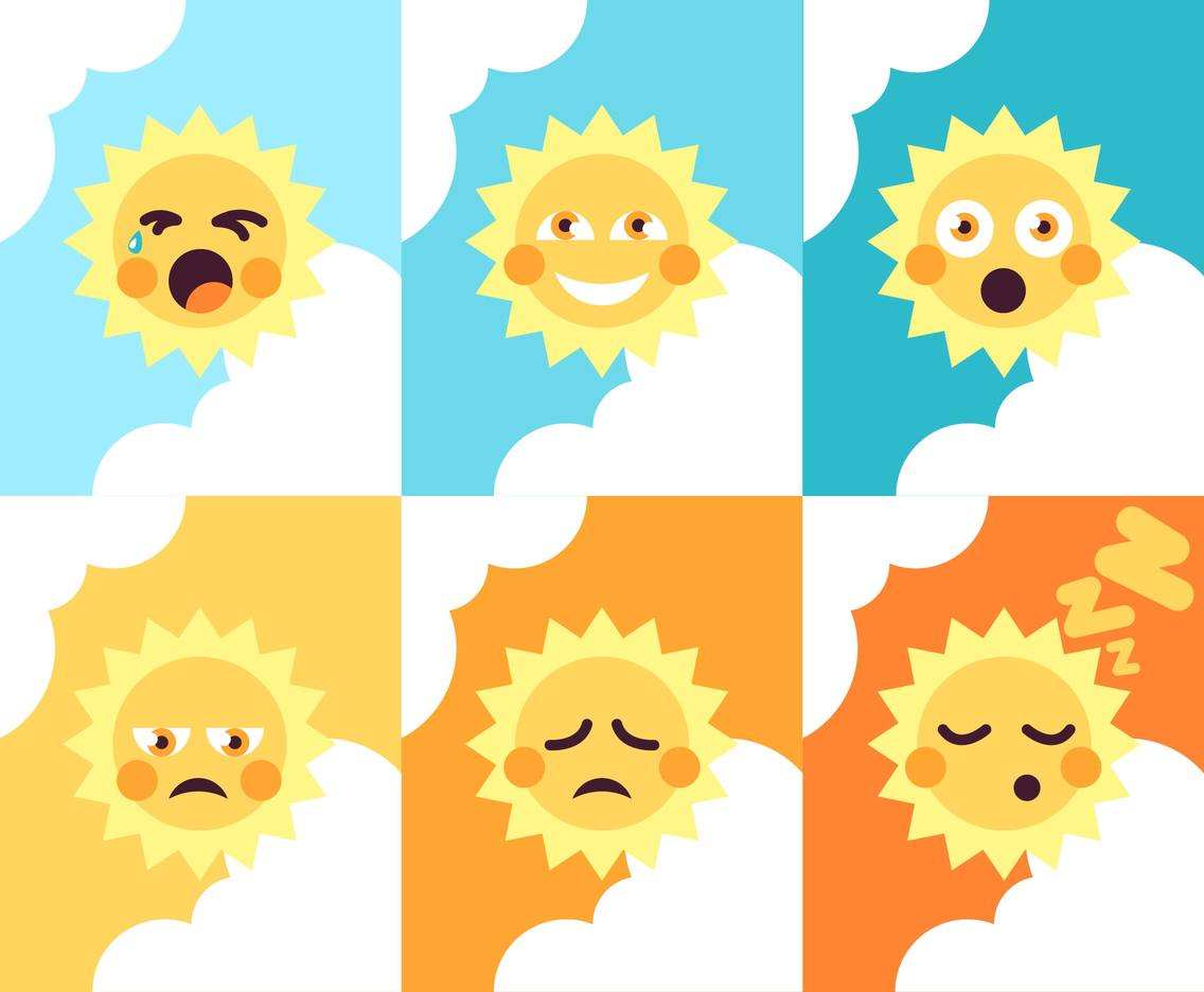 Sun Element Set Emojis Illustrations Vector