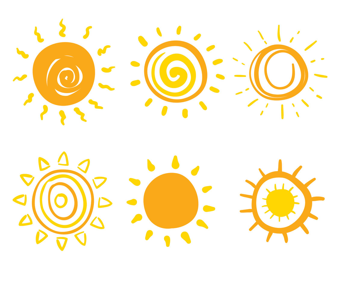 Hand Drawn Sun Collection Vector