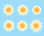Sun Collection On Blue Vector
