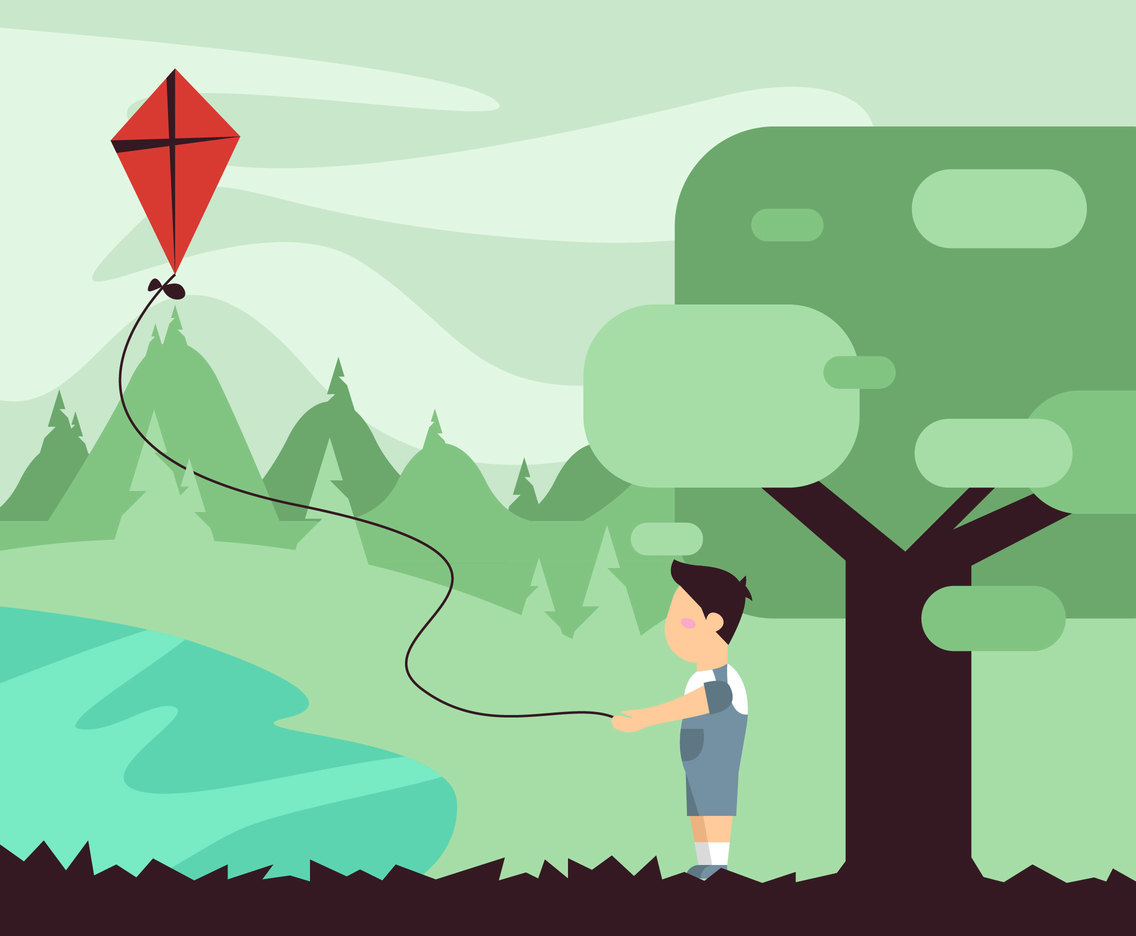 People Flying A Kite Illustration Vector